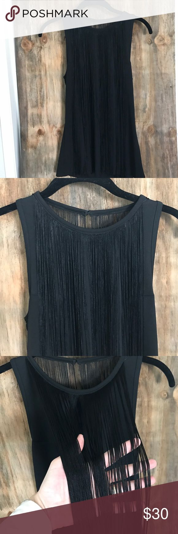 Sam Edelman front and back fringe blouse NWOT This is just too good! The fringe adds sex and glamour to an otherwise basic black tank. 100% Polyester for a soft, silky feel. Sam Edelman Tops