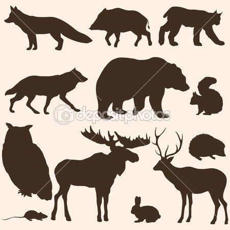 jeu de silhouettes d'animaux forêt vectorielles