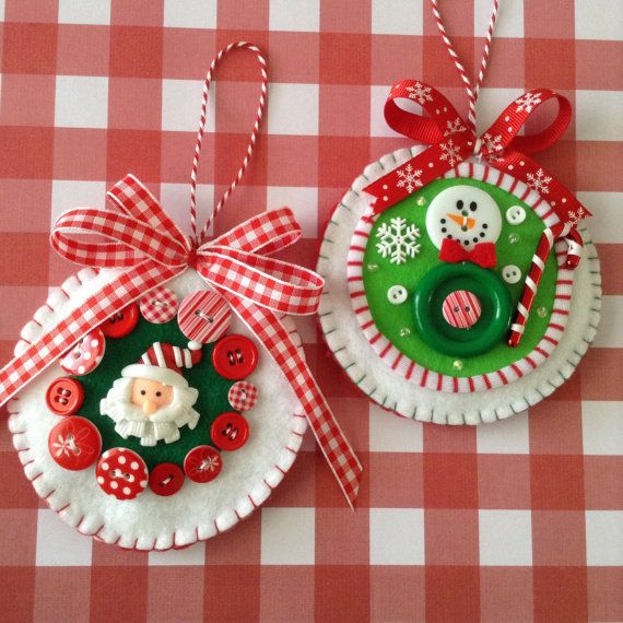 Christmas ornaments ( set of 2 ) Santa and Snowmen - handmade felt and design with lovely details