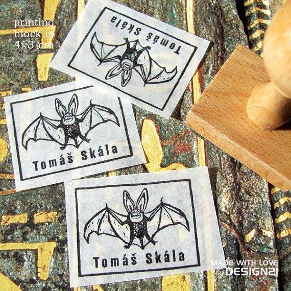 Bat: personalised stamp 4x3 cm by lida21 on Etsy