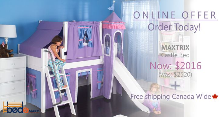 WOW27 Maxtrix Low Loft Bed with Slide, Under Bed, Top Tent & Tower.  Order today & have it delivered to you FREE!  See all your options at www.bedsmart.ca  *Maxtrix Loft & Bunk Beds are modular, made of Solid Maple & holds up to 400lbs.