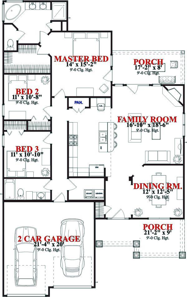 First Floor Plan of Craftsman House Plan 78784