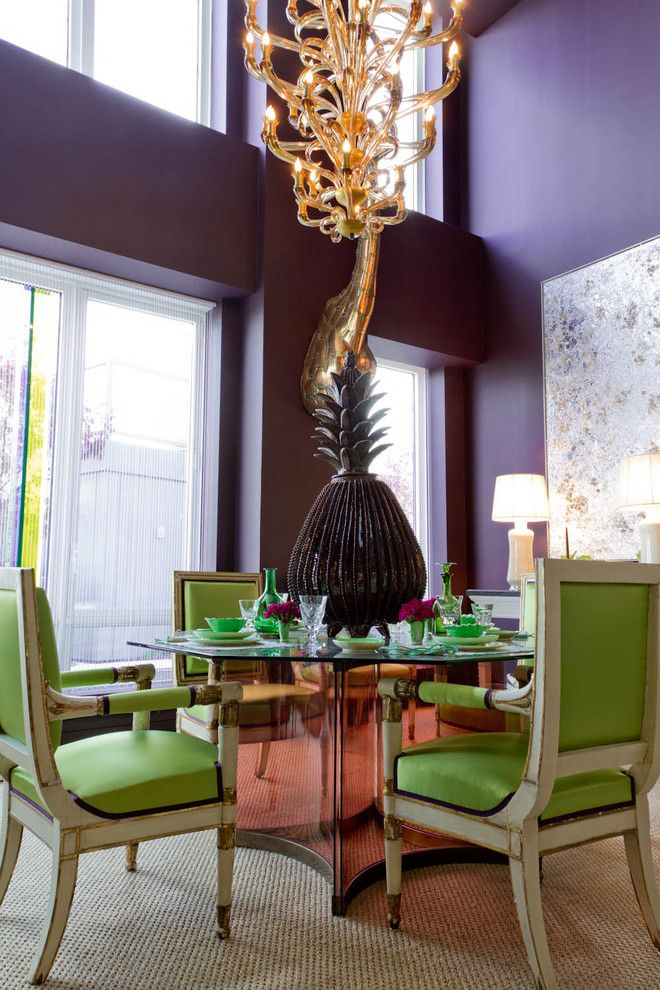 egg plant, walls, paint, color, lime, dining chairs, pineapple, vase, conversation piece, starter, plates, hanging lights, zebra bench, loui...