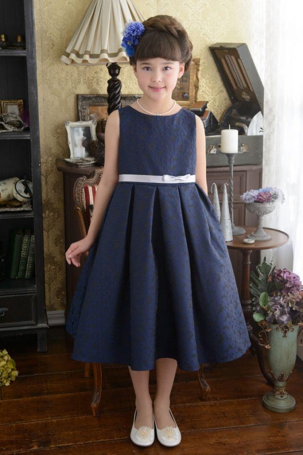子供ドレス ピアノ発表会ドレス 3-354(140cm)ネイビーブルー