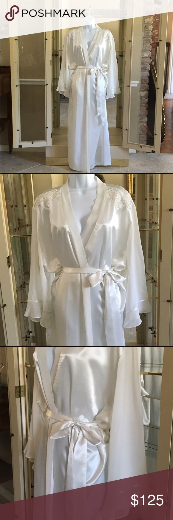 VINTAGE CALIFORNIA DYNASTY HONEYMOON DRESSING ROBE STUNNING VINTAGE 1980S CALIFORNIA DYNASTY BRIDAL SATIN AND SHEER DRESSING GOWN ROBE HONEYMOON LINGERIE SATIN, SHEER LACE BEADS EMBROIDERED LACE AT TOP FRONT TIES IN FRONT HAS LONG SHEER SLEEVES WITH FLOUNCED RUFFLED BOTTOMS ABSOLUTELY BEAUTIFUL REMINDS ME OF THE REAL DYNASTY SHOW FROM THE 1980S LINDA EVENS WAS WEARING DRESSING GOWNS JUST LIKE THIS ONE  IN BRAND NEW CONDITION CALIFORNIA DYNASTY Intimates & Sleepwear Robes