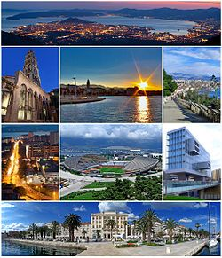 Split, Croatia  / Some images of Split and its landmarks. Top: View of night in Split from Mosor mountain, 2nd of left: Cathedral of Saint Domnius, 2nd of middle: Sunset at Diocletian's Palace, 2nd of right: Veli Varos area, 3rd of left: Night in Poljicka Street, 3rd of middle: Poljud Stadium, 3rd of right: Split University Library, Bottom: Riva waterfront and Diocletian's Palace