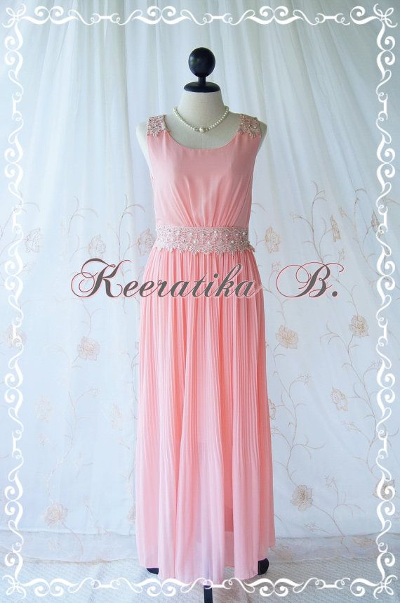 Formal Maxi Dress Floor Length Dress Pink by LovelyMelodyClothing