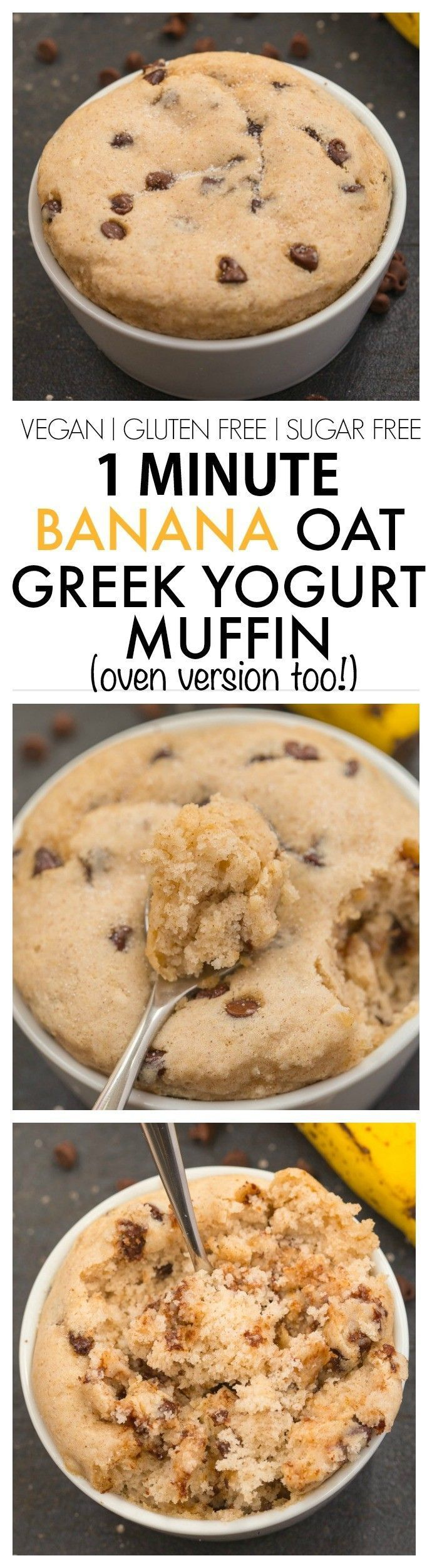 Healthy Flourless 1 Minute Greek Yogurt Banana Oat Muffin- Quick, easy and SO delicious with NO oil, butter, flour or sugar! {vegan, gluten free, dairy free, sugar free recipe}
