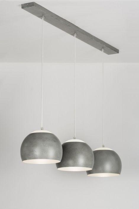 Hanglamp 89337 modern design retro glas wit opaalglas metaal grijs rond langwerpig