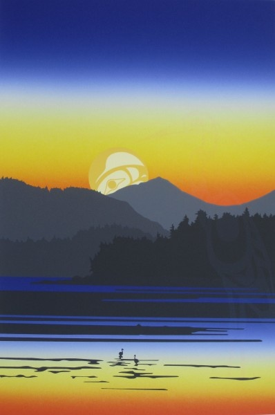 Tofino, BC. I think this is likely by Roy Henry Vickers - and Tofino actually looks like this!