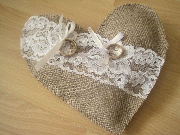 Hessianburlap wedding ring pillowcushion by MyIdeaForYou on Etsy, £9.85