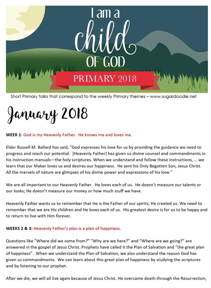 2018 LDS Primary Talks - Short Primary talks that correspond with the weekly Primary themes.
