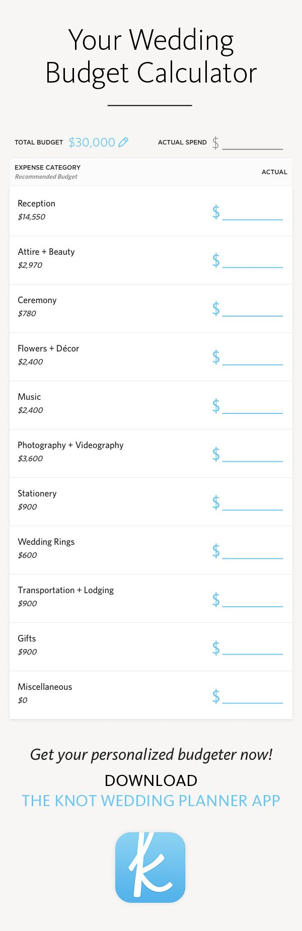 Your wedding budget calculator in The Knot's planner app -- what to spend, where to spend it, and personalized for you!