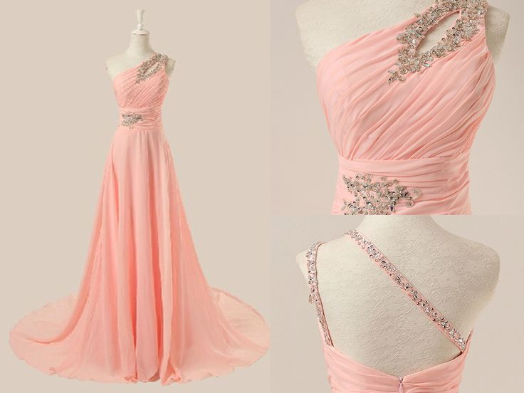 one shoulder prom gown, #promdresses, #prom2k16, http://www.luulla.com/product/456340/delicate-pink-one-shoulder-beadings-prom-gown-2016-elegant-prom-dresses-2016-evening-gowns-formal