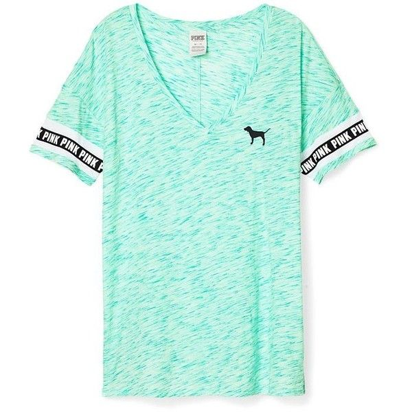 Victoria's Secret PINK Boyfriend V-Neck Tee Light Blue ($46) ❤ liked on Polyvore featuring tops, t-shirts, shirts, boyfriend t shirt, green v neck shirt, boyfriend tee, victoria secret shirts and green t shirt