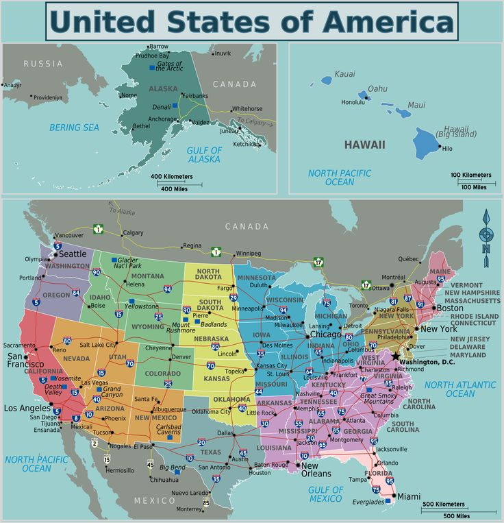 The Map Shows The States Of North America Canada USA And Mexico - Us map east coast states