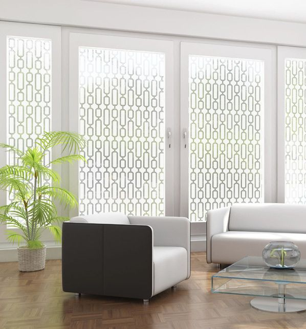 Perfect window treatment for this sleek decor... Avalon Etched Glass Film for Sidelights, Glass Doors, Windows - Semi Private - Wallpaper For Windows