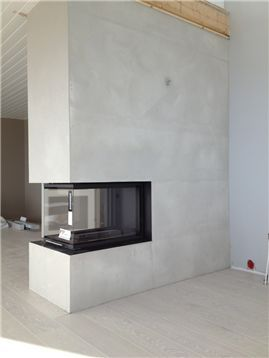 Alternative fireplace location (extended from the bearing wall in living room)