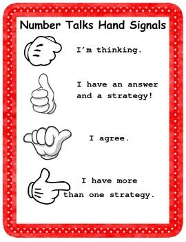 Number talks are a great way to get your students involved in meaningful mathematical discussion! This poster shows the hand signals that are used as part of the number talks routine. It includes both an English and Spanish poster.