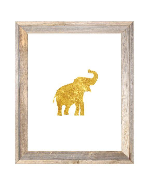 Gold Elephant Nursery Wall Art Print Gold Deer by IslaKateDesigns