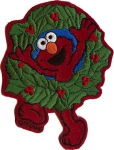 Elmo Christmas Wreath Patch