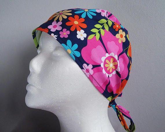 Navy 'Flora' Tie Back Scrub Hat Scrub hats scrub