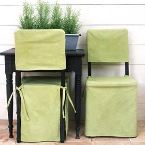 Being that I plan on it being outside & not very formal at all....Tailored folding chair slipcover. They dyed a painter's dropcloth: one box Kelly green, 2 of golden yellow dye.