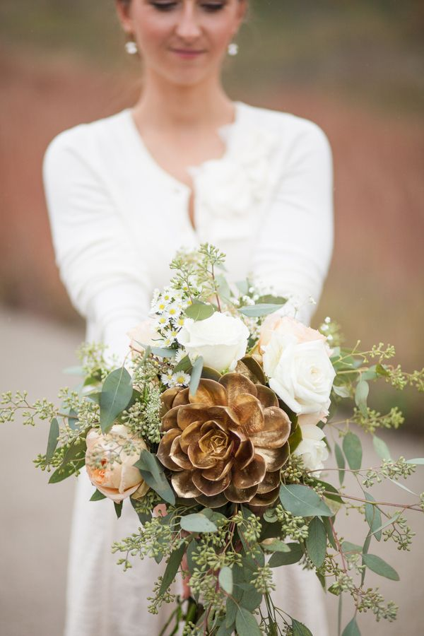 a bridal bouquet with a perfectly painted gold succulent /// Photo by Wren Photography