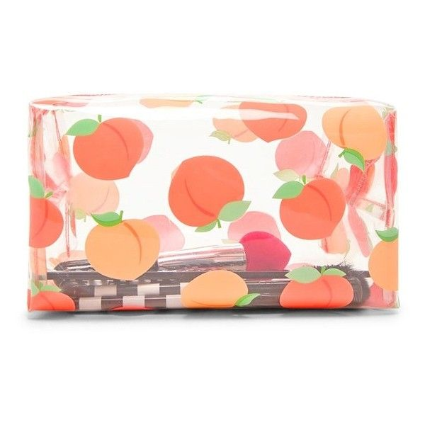 Forever21 Peach Print Clear Makeup Bag (25 BRL) ❤ liked on Polyvore featuring beauty products, beauty accessories, bags & cases, toiletry kits, wash bag, forever 21 makeup bag, purse makeup bag and cosmetic bags