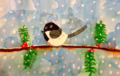 Art: Expression of Imagination: second grade  winter chickadees using watercolor and marker.