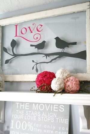 Cute wall art using an old window and vinyl lettering.  http://cdn.indulgy.com