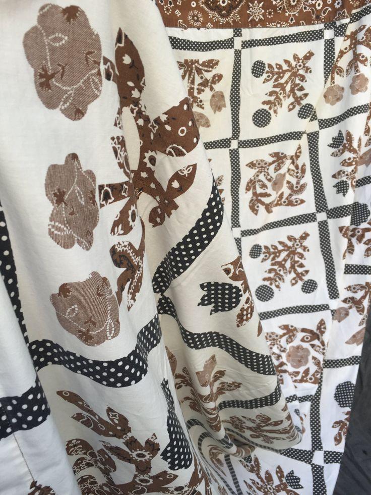 70's Burlington House Brown Black and White Bandana Flower Print - Double Flat Sheet by ElkHugsVintage on Etsy