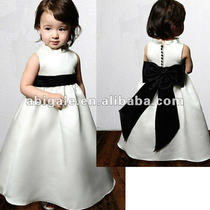 Vestido, niñas, blanco con negro