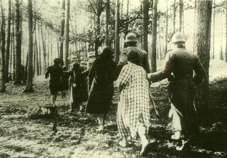 W Palmirach pod Warszawą już w grudniu 1939 roku miały miejsce pierwsze egzekucje przedstawicieli polskiej elity politycznej, intelektualnej i kulturalnej. Do lipca 1941 Niemcy rozstrzelali w tym miejscu około 1700 osób. Na zdjęciu: Polki prowadzone przez niemieckich żołnierzy na egzekucję. Fot. Studium Polski Podziemnej w Londynie / Ośrodek Karta