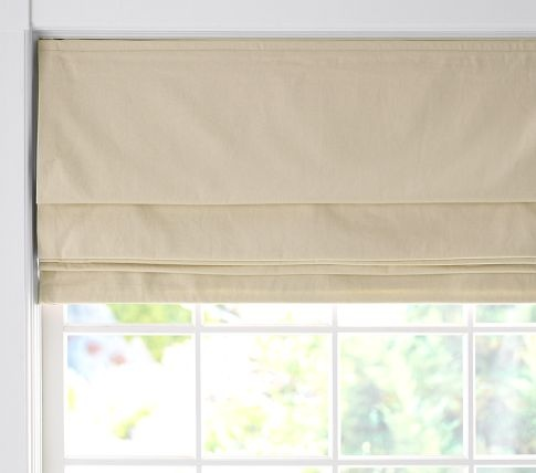 twill cordless roman shade with blackout lining pottery barn kids