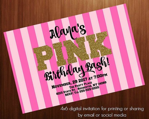 Teen Birthday party invitation PINK Secret by UMustHaveGoodTaste