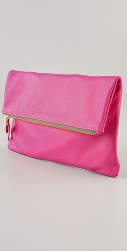 Love this fold over clutch. Simple and PINK!Colors Pop, Style, Pink Mystique, Limes Green, Hot Pink, Bags Lady, Folding Ov Clutches, Magenta Colors, Pop Clutches