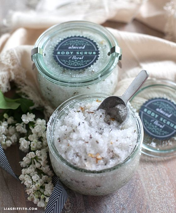Homemade almond floral body salt scrub with free printable labels  {Lia Griffith}