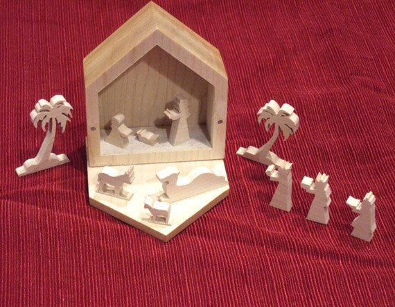 Miniature Nativity Set by BrowniesWoodcrafts on Etsy