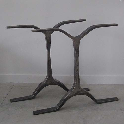Hand Forged Wrought Iron Double Table Base. HMeasurements For Each  Individual Table Base Piece;