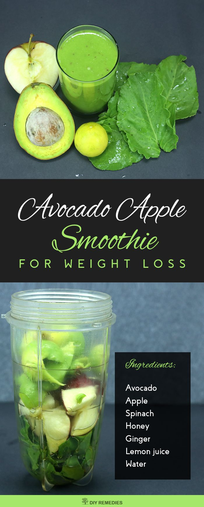 Avocado Apple Smoothie This is a healthy and nutritious smoothie that does not contain any dairy or sugar. This recipe can also be modified to suit a vegan and diabetic diet by leaving out the honey. #DIYRemedies #Smoothie