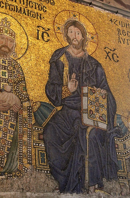 Christ Pantocrator, Byzantine mosaic from the Hagia Sophia. Istanbul, Turkey.