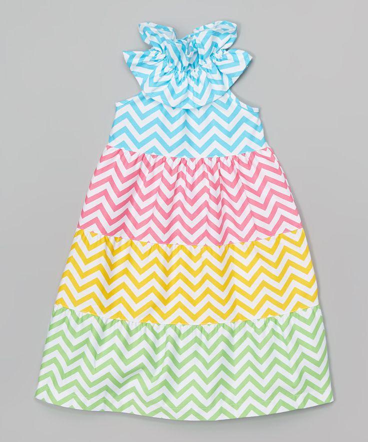 Mudpie Blue & Yellow Chevron Maxi Dress