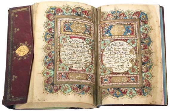 An 1832 example from Turkey, handwritten by Ahmad Al Shekry, a scholar of Mohamad al Helmy. With gilded bordering and floral form verse markers throughout, its first double pages are adorned with scrawling floral and foliage designs in green, blue and red. This exquisite manuscript is enclosed in leather binding with a flap that is detailed in thick gold. 'Ottoman Qur'an'. Turkey, dated AH1266 (1832 AD). Image courtesy of Ayyam Gallery