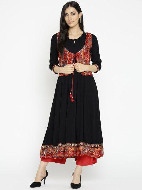 a6d5a98bda6 Rangriti Women Black Solid Anarkali Kurta - Kurtas for Women 2241429 ...