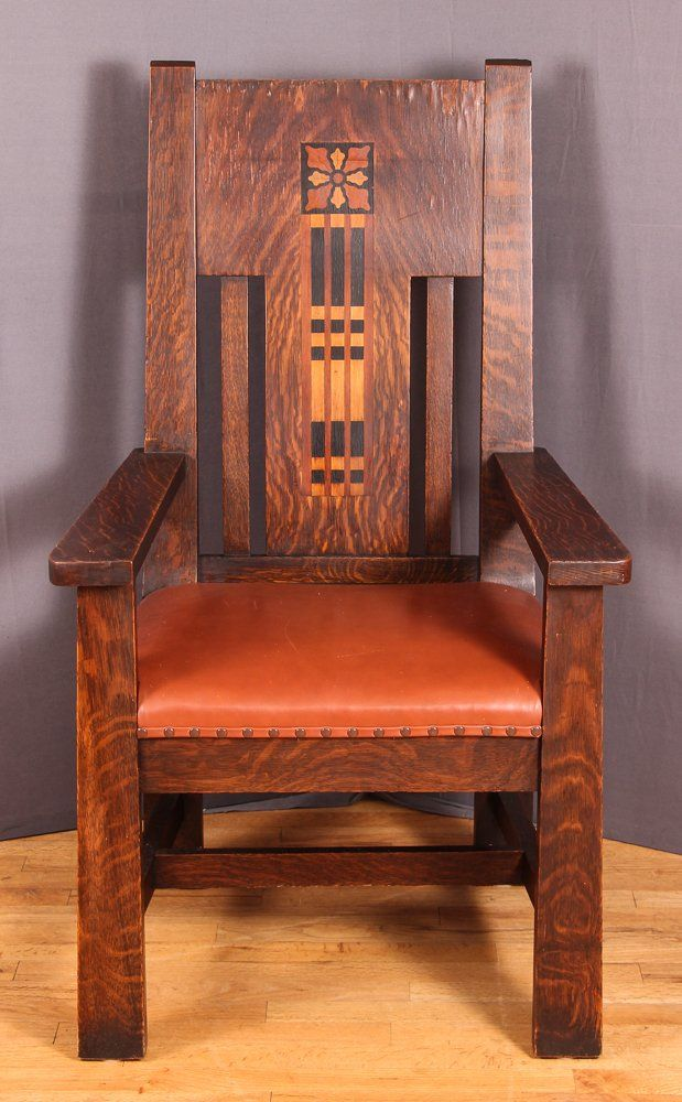 Arts And Crafts Style Chair Antique Rope Bottom Shop Of The Crafters Inlaid Oak Arm On Pinterest Concept Art Gallery Arms Number