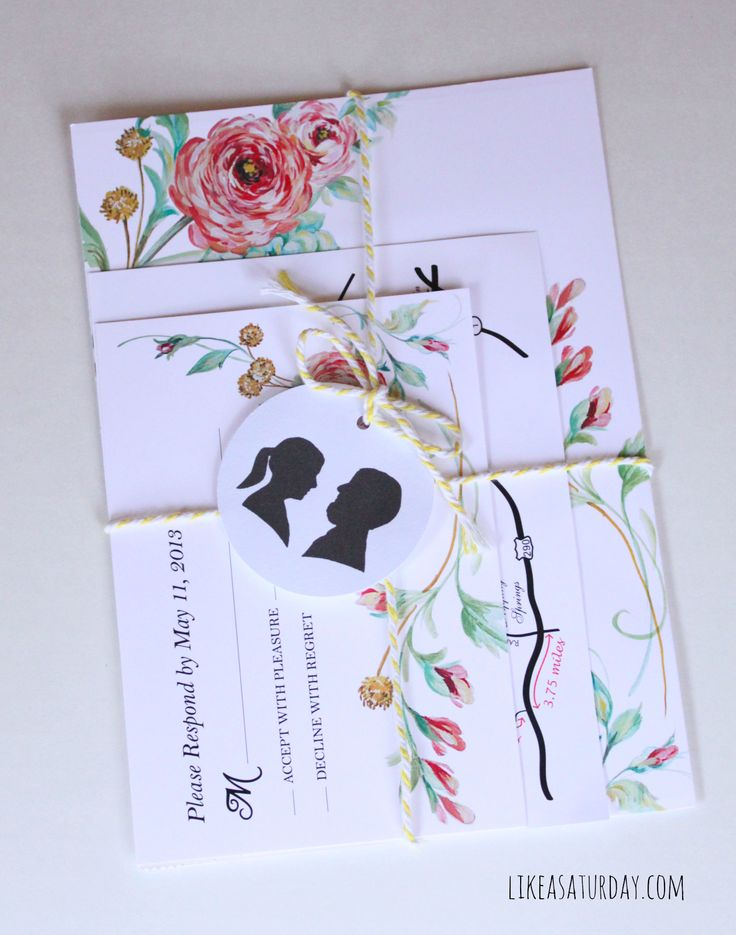 Hand Painted Floral Wedding Invitations Like a Saturday