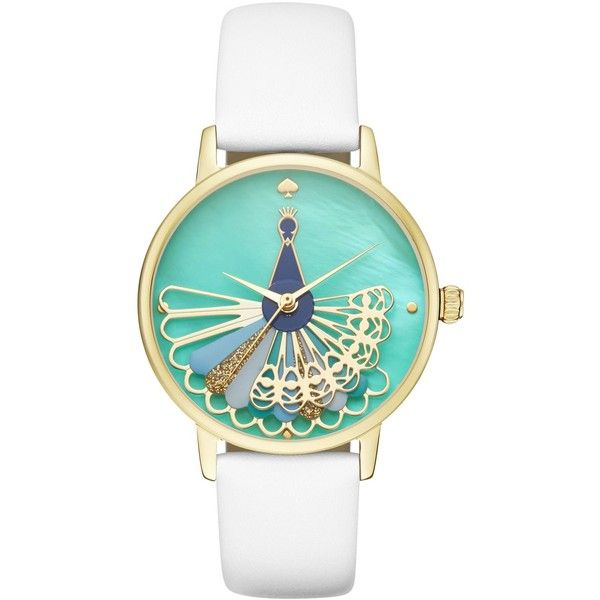 kate spade new york Women's Metro White Leather Strap Watch 34mm... ($225) ❤ liked on Polyvore featuring jewelry, watches, white, kate spade watches, white gold jewelry, feather jewelry, star jewelry and yellow gold watches