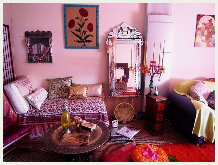 A lovely pink living space inspired by Bohemian, Moroccan and Indian design. | Caption by Jenn Brown
