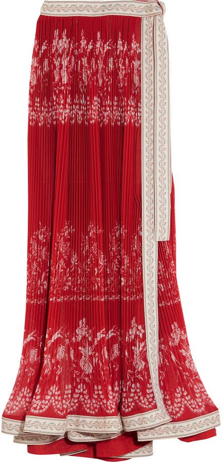 Etro Embroidered Pleated Floral-Print Chiffon Maxi Skirt